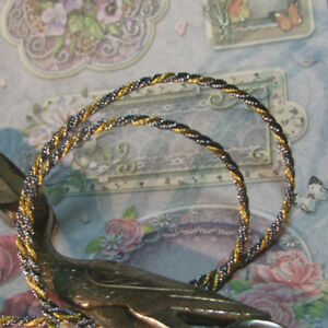 Antique Vtg Gold Silver Metal Rope Cord Trim Tiny Narrow Small 1 8 Doll Dress