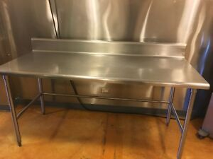 Stainless Steel Commercial Meat Food Prep Table 6 Ft With Backspash 6