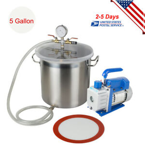 5 Gallon Vacuum Chamber W 3cfm Single Stage Pump To Degassing Silicone Set Usa