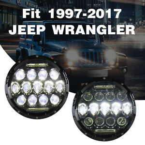 2x7 150w Total Cree Drl Led Headlights Hi Lo Fit Jeep Wrangler Jk Tj Yj 97 17