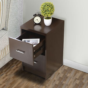 Wood 2 Drawers Nightstand Bedside Cabinet End Table File Cabinet