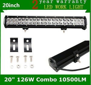 20 Inch 126w Suv Led Work Light Bar Flood Spot Offroad Driving 4wd Ford Truck