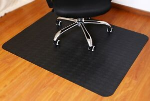 Black Desk Office Home Computer Chair Mat For Hard Wood Carpeted Floor Protector