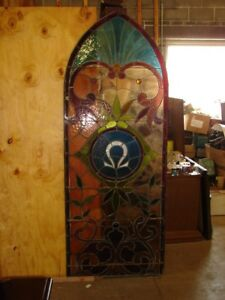 Antique Leaded Stained Glass Church Window Omega Arch Top See Photos
