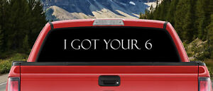 I Got Your 6 Military Police Blackout Large Backscape Back Window Decal Truck