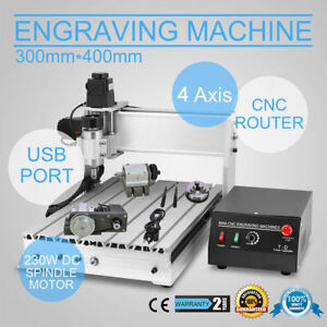 4 Axis 300w 3040t Cnc Router Engraver 3d Engraving Drilling Milling Machine