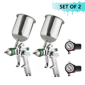 2 Pcs 2 5mm Hvlp Gravity Spray Gun Kit With Auto Paint Primer Metal Flake