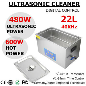 Pro Stainless Steel 22l Ultrasonic Cleaner Liter Industry Heated Timer Je