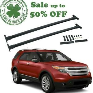 For 11 15 Ford Explorer Top Roof Rack Cross Bars Oe Style Luggage Carrier Black