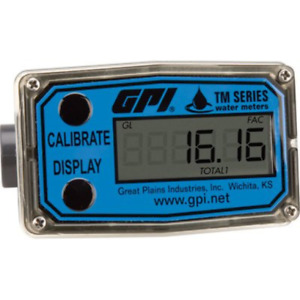Gpi Tm050 n Pvc Water Meter With Lcd Readout 1 2in Npt 1 To 10 Gpm Tm050 n