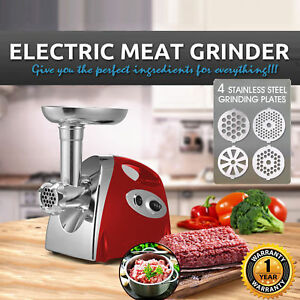 Electric Meat Grinder Stainless Steel Sausage Kubbe Attachment W 4 Blades 2800w