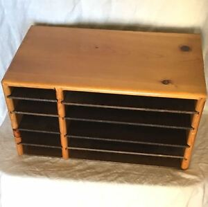 Vtg 70s Mid Century Wood Desk 19x10 Organizer Paper File Sorter Adj Shelf 10slot