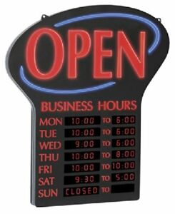 Led Open Sign With Programmable Business Hours And Flashing Effects Red Black