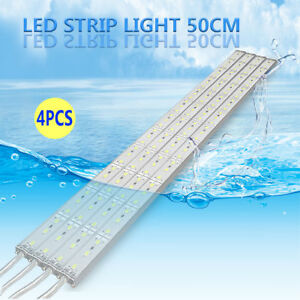 4pcs Waterproof Cool White 50cm 5630 Led Strip Lights Bars Camping Boat Remote