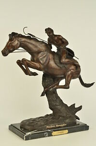 Sculpture Cheyenne By Frederic Remington Bronze Marble Base Statue Figurine Deco