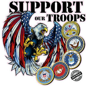 Screaming American Eagle Support Our Troops Decal Is 8 X 8 In Size