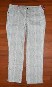LEE NEW WOMAN CREAM SNAKE STRETCH STRAIGHT LEG CLASSIC FIT JEANS PANTS SIZE 20 W