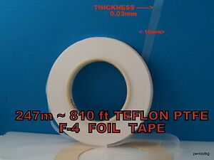 247m 810 Ft Teflon Ptfe F 4 Foil Tape 0 03mmx10mm Ussr Mylitary Factory Pack
