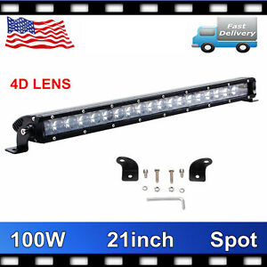 21inch 100w Cree Led Work Light Bar Slim Spot Offroad Single Row 4d Lens 12v24v