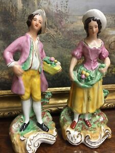 Staffordshire Ware Figurines Man Woman Couple Pair England Fruit Bearers 218