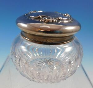 Sterling Silver And Glass Dresser Jar With Violets Art Nouveau 612 2188