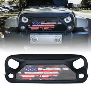 Xprite Gladiator Grille Steel Mesh W U s Flag For 2007 2018 Jeep Wrangler Jk