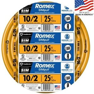 Southwire Romex Simpull 25 ft 10 2 Non metallic Wire by the roll