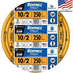 Southwire Romex Simpull 250 ft 10 2 Non metallic Wire by the roll
