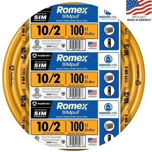Southwire Romex Simpull 100 ft 10 2 Non metallic Wire by the roll
