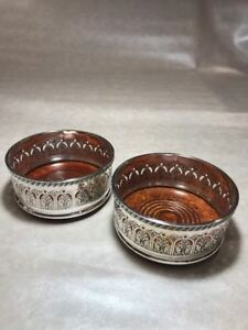 Pair Of English Pierced Silverplate Wood Champagne Wine Bottle Coasters