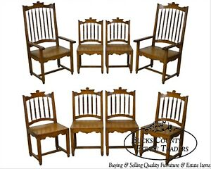 Rustic Set Of 8 Solid Hardwood Spindle Back Dining Chairs