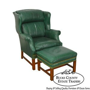 Whittemore Sherrill Chippendale Style Green Leather Wing Chair W Ottoman