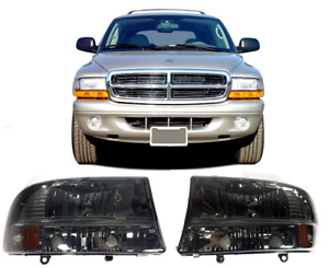 97 04 Dodge Dakota Headlamps 98 03 Durango Smoke Headlights 1997 1998 2003 2004