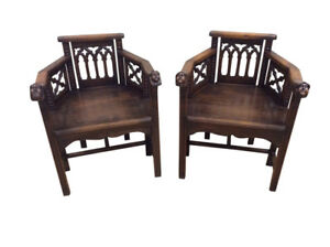 Terrific Pair Of French Gothic Arm Chairs Whimsical Oak