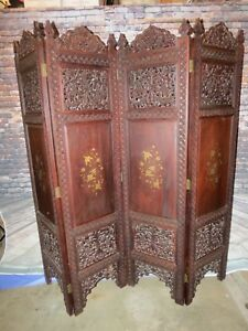 Antique Chinese Hand Carved Wooden Room Divider Privacy Screen W Satinwood Inlay