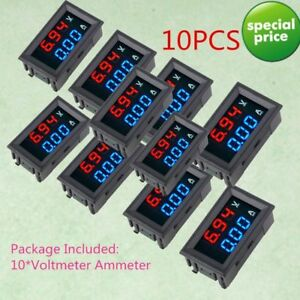 10x Dc 100v 10a Digital Voltmeter Ammeter Blue Red Led Volt Amp Meter Gauge Crrd