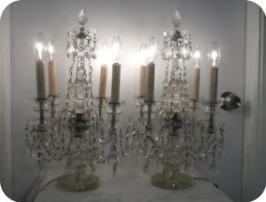 Antique Cut Crystal Chandelier 4 Lite Table Mantle Lamps Pair Made In Czech