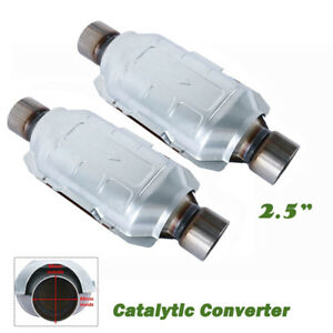 Pair 2 5 Catalytic Converter Universal Oval High Flow Cat Inlet Outlet 10 Body