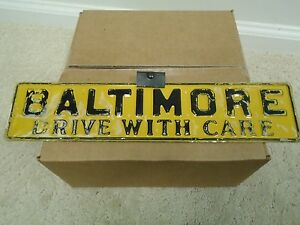 Vintage Baltimore Md Drive With Care License Plate Topper