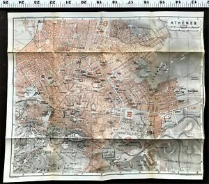 1911 Athens Greece Original Antique City Map Plan With Streets Baedeker