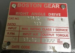 Boston Gear Right Angle Drive no Mac Non Inv Location 1000010