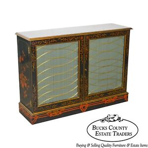 Maitland Smith Regency Style Paint Decorated Console Cabinet