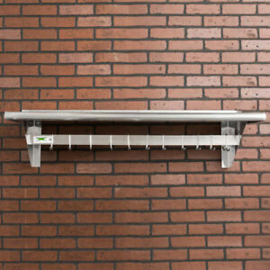 Regency 15 X 48 Stainless Steel Wall Mounted Pot Rack With Shelf And 18 Hooks