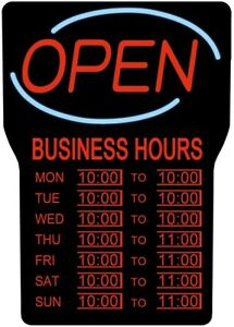 Led Open Closed Sign Illuminated Lighting System With Restaurants Business Hours