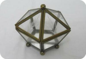 Vtg Small Brass Leaf Eched Glass Display Mini Curio Jewelry Case Pyramid Box