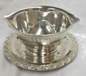 Vintage Wm Rogers Silverplate Gravy Boat W Attached Underplate 713 Silver Plate