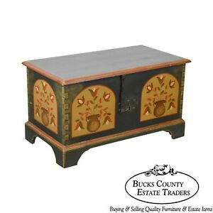 Pennsylvania Dutch Style Hand Crafted Pine Painted Blanket Chest
