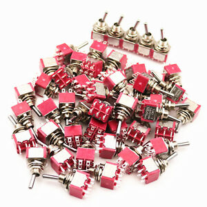 50pcs Sh T8011 6 Pins Dpdt 2position On on Maintained Mini Toggle Switch