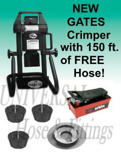 Gates 4 20 Hydraulic Hose Crimper Adjustable Air Pump 3 Dies Free Hose B