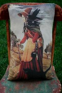 Halloween Nature Good Witch Crow Cat Rabbit Harmony Pillow Wiccan Natural Healer